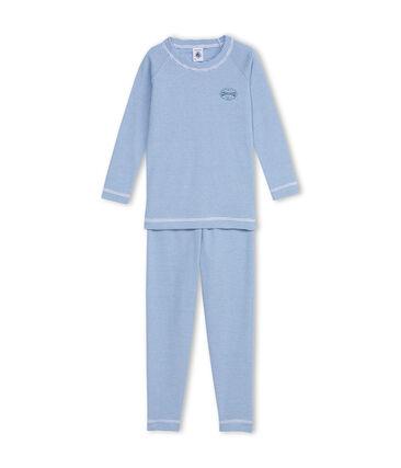 Aansluitende jongenspyjama blauw Alaska / wit Ecume