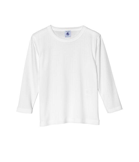 Effen jongens-T-shirt met lange mouwen wit Ecume