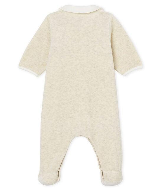 Uniseks pyjama met slabbetje van katoenvelours grijs Montelimar Chine