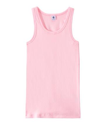 Dameshemdje in origineel geribd katoen roze Babylone