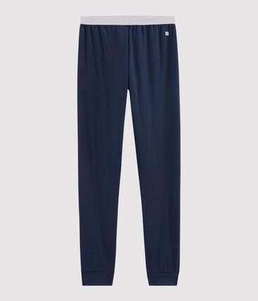 Geribde heren pyjamabroek blauw Haddock
