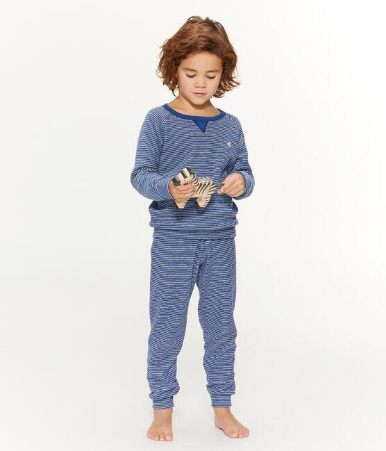 Pyjama petit garçon en bouclette éponge grattée extra chaude bleu Major / gris Subway