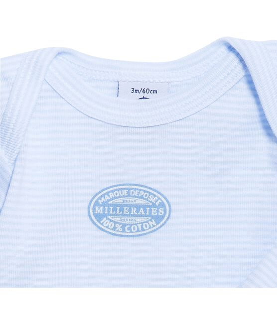 Body bébé garçon manches longues à milleraies bleu Fraicheur / blanc Ecume