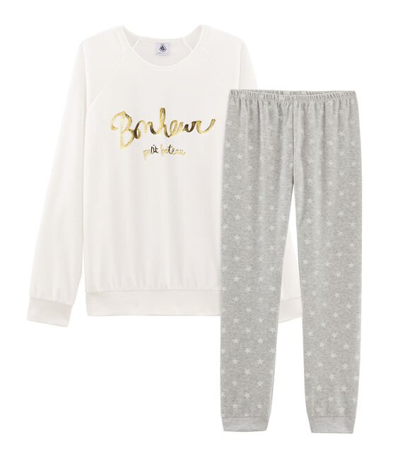 Fluwelen meisjespyjama grijs Beluga / wit Marshmallow
