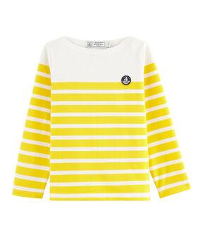 Marinière en jersey enfant blanc Marshmallow / jaune Shine