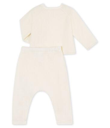 Set van twee babykleertjes, van katoen, merinowol en polyester wit Marshmallow