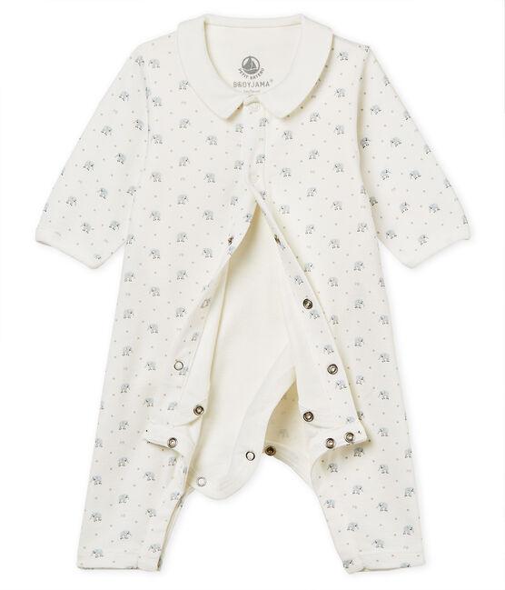 Bodyjama zonder voetjes voor babyjongens van 1x1 ribstof met print wit Marshmallow / wit Multico