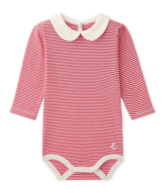 Body bébé fille en milleraies rose Flashy / beige Coquille