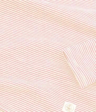 T-shirt met lange mouwen kinderen van wol en katoen roze Charme / wit Marshmallow