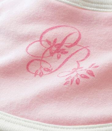 Bavoir bébé mixte en côte 1x1 unie rose Vienne