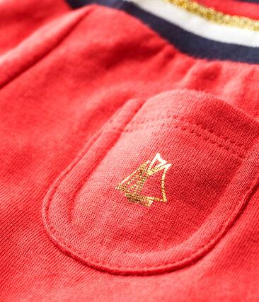 Pantalon bébé fille en tubique rouge Signal