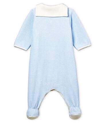 Bodyjama bébé garçon en velours milleraies bleu Fraicheur / blanc Ecume