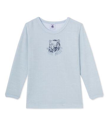 Jongens-T-shirt met lange mouwen in katoenflanel blauw Fraicheur