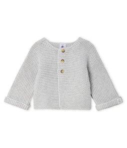 Cardigan laine et coton point mousse bébé fille gris Beluga