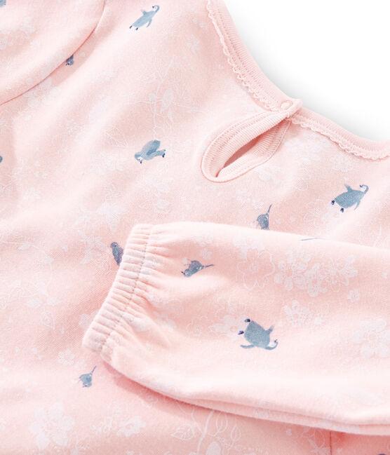 Meisjesnachthemd met lange mouwen van dubbelzijdig jersey met pinguïn print roze Minois / wit Multico