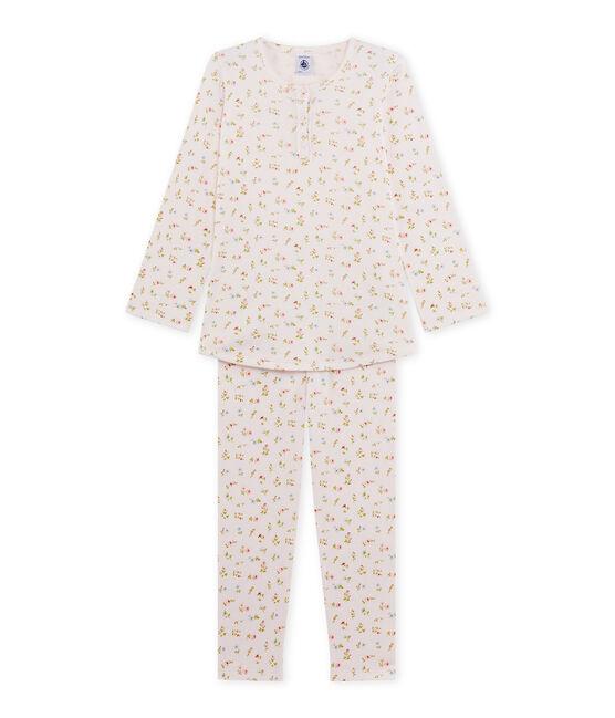 Pyjama fille à imprimé petites fleurs rose Vienne / blanc Multico