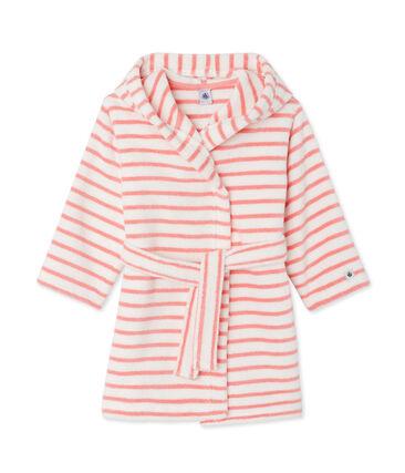 Kinderbadjas van badstof wit Lait / roze Merveille