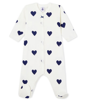 Dors bien bébé fille-garçon en côte blanc Marshmallow / bleu Medieval