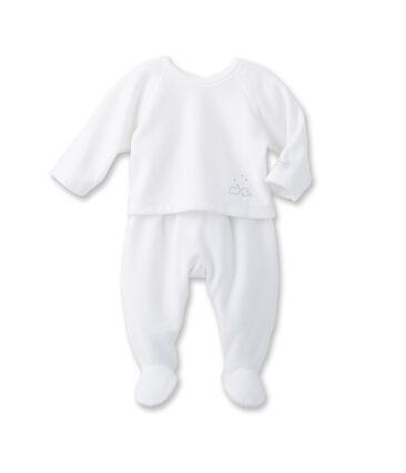 Uniseks babyset: hemdje en broek wit Ecume / grijs Gris