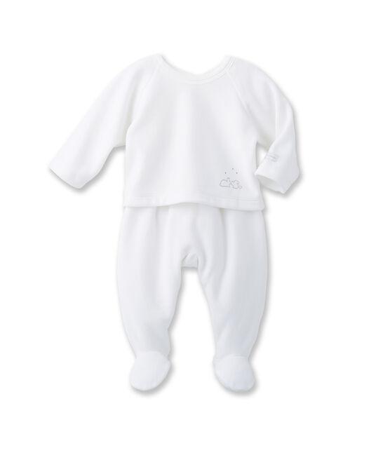 Ensemble bébé mixte brassière et pantalon blanc Ecume / gris Gris