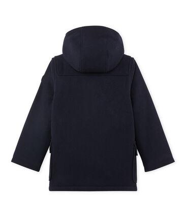 Wollen duffelcoat met voering voor jongens blauw Smoking