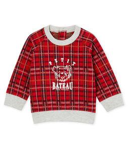 Sweatshirt babyjongen van ruitjesmesh rood Terkuit / wit Multico