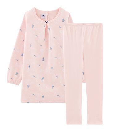 Nachthemd met lange mouwen van molton voor meisjes roze Minois / wit Multico