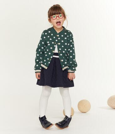 Cardigan imprimé enfant fille vert Sousbois / blanc Marshmallow