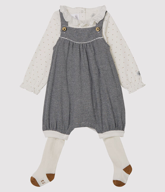 Set van drie kledingstukken van gebreide stof babymeisje set .