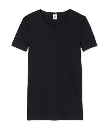 Effen dames-t-shirt met korte mouwen zwart Noir