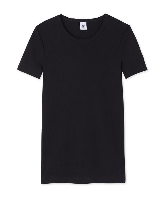 Tee-shirt manches courtes uni femme noir Noir