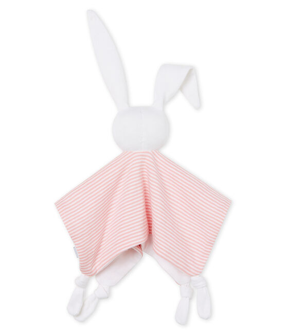 Babyknuffel konijn van gebreide stof roze Charme / wit Marshmallow