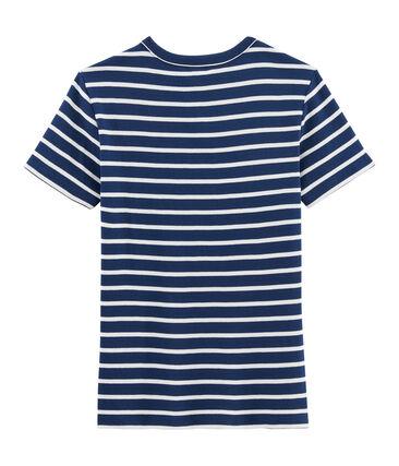 Iconisch damesshirt blauw Medieval / wit Marshmallow