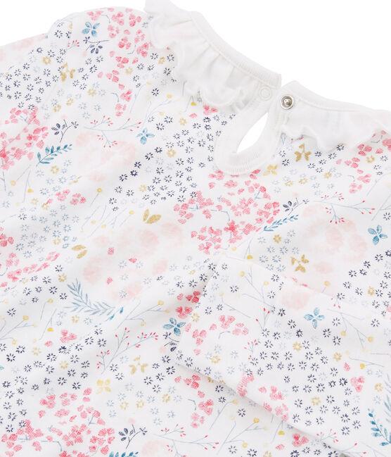 Meisjespyjama van gebreide stof met nauwsluitende pasvorm wit Marshmallow / wit Multico