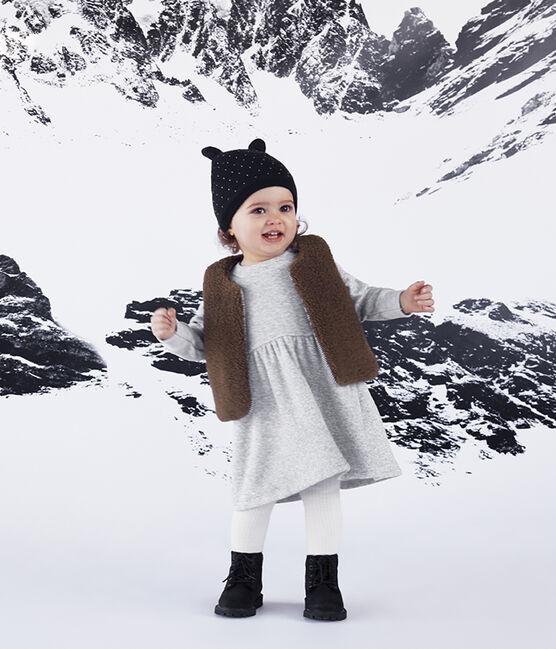 Jurk met lange mouwen babymeisje van mesh-fluweel grijs Beluga / wit Multico