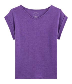 Linnen damesshirt purper Real