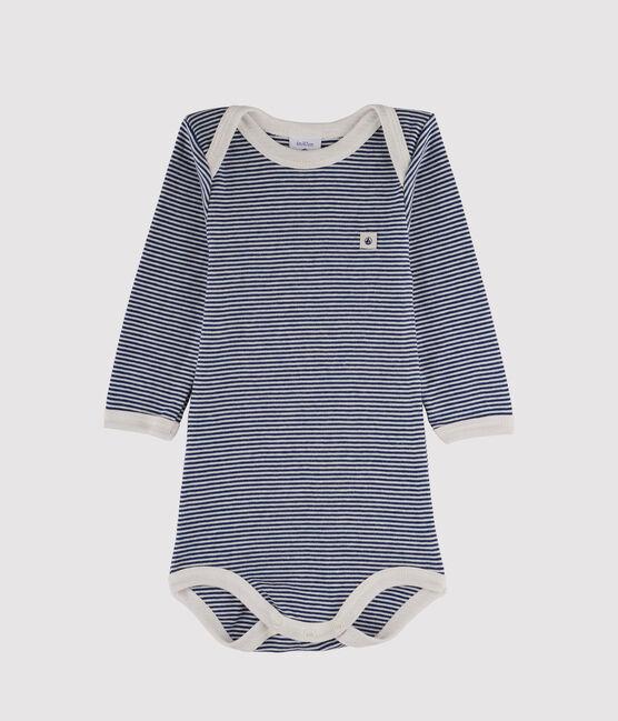 Body manches longues bébé garçon bleu Medieval / blanc Marshmallow