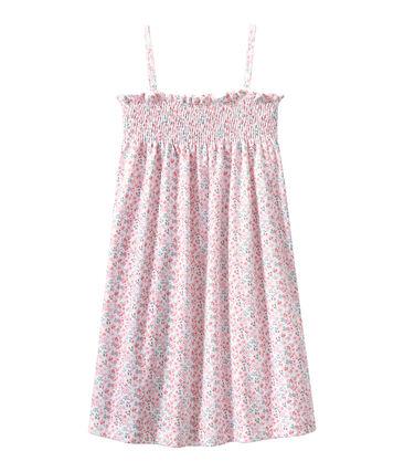 Meisjesnachthemdje met smokwerk en dessin wit Ecume / wit Multico