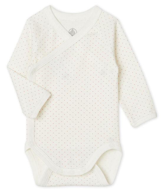 Rompertje pasgeborene met lange mouwen wit Marshmallow / roze Charme