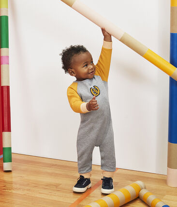 Lang babypakje van molton babyjongen grijs Subway / geel Boudor