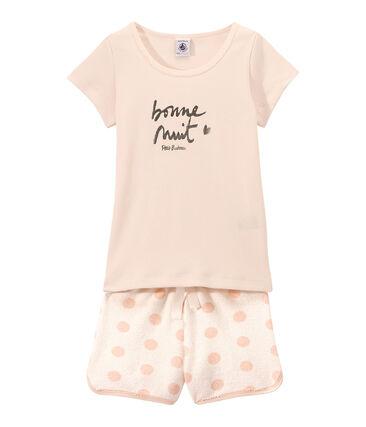 Korte meisjespyjama in twee stoffen met opdruk