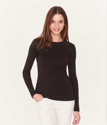 Iconisch vrouwen T-shirt met lange mouwen zwart Noir