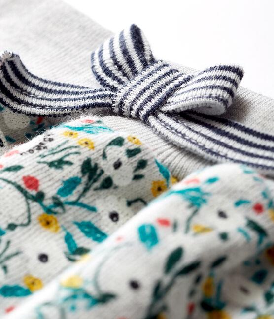 Broek van molton met print babymeisje grijs Beluga / wit Multico