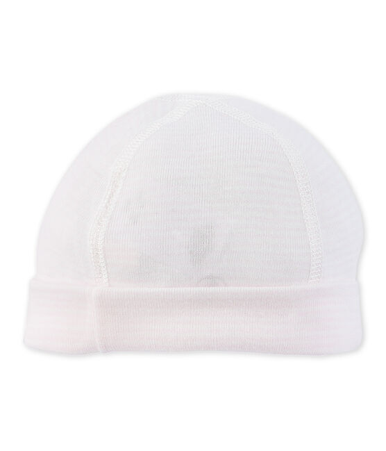Bonnet de naissance bébé rayé milleraies rose Vienne / blanc Lait