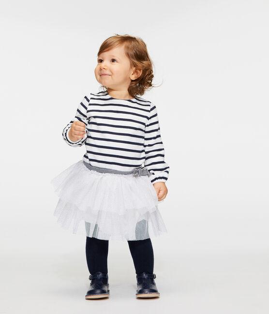 Gestreepte jurk met lange mouwen babymeisje wit Marshmallow / blauw Smoking