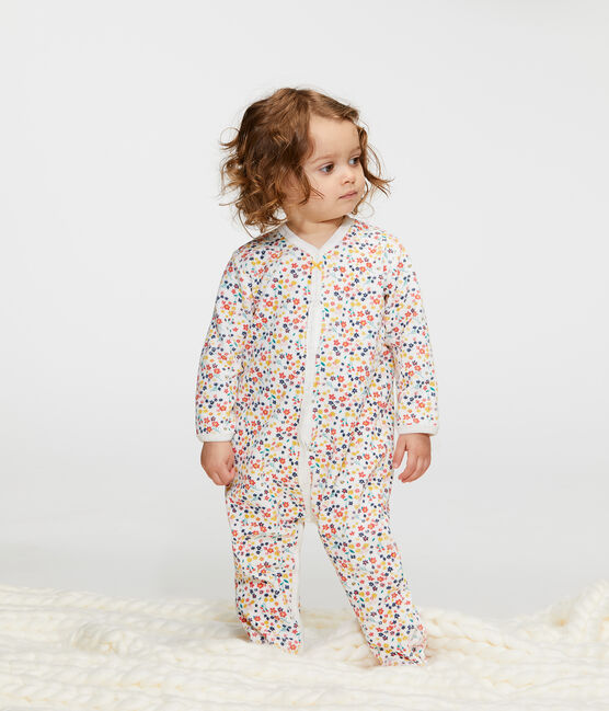 Fluwelen slaappakje babymeisje wit Marshmallow / wit Multico