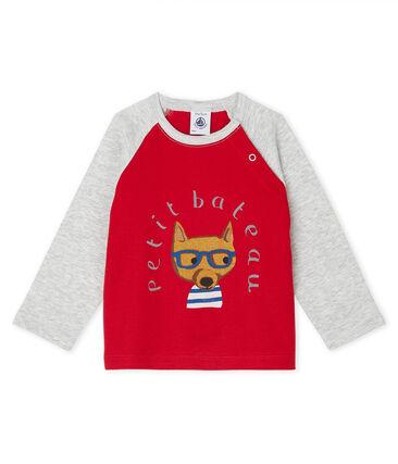 T-shirt met lange mouwen babyjongen rood Terkuit / grijs Beluga