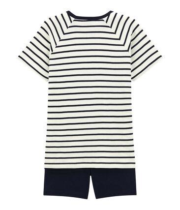 Korte jongenspyjama van gebreide stof wit Marshmallow / blauw Smoking