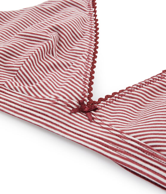 Soutien-gorge triangle femme rouge Carmin / blanc Marshmallow