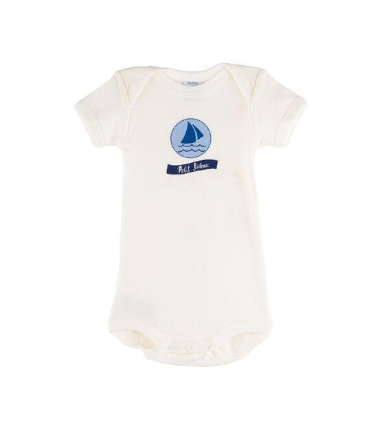 Body manches courtes bébé fille blanc Marshmallow / bleu Jasmin